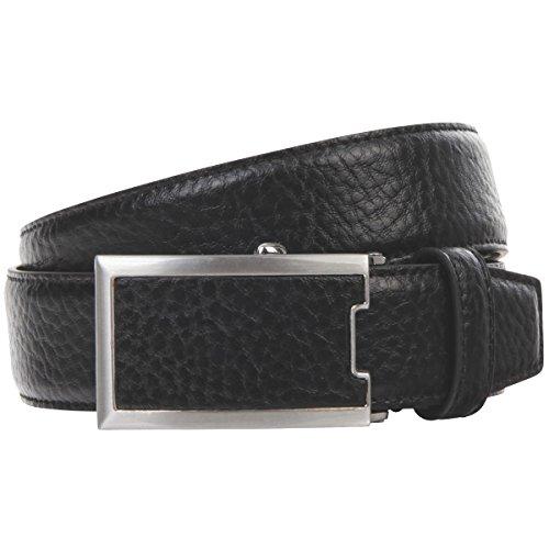 Lindenmann Mens leather belt/Mens belt, leather belt curved with autolock buckle, black, Größe/Size:100, Farbe/Color:noir