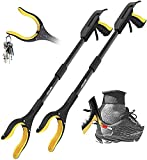 Jellas 2-Pack 32 Inch Grabber Reacher Tool with Shoehorn, 90° Rotating Head Grabber Tool for Elderly, Outdoor and Indoor Trash Picker Grabber(Yellow)