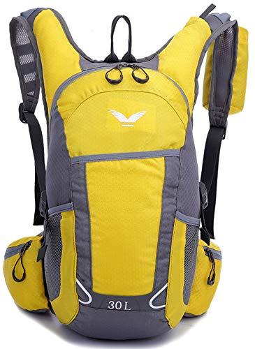 YJIUJIU Mochila de ciclismo de 30 l, impermeable, transpirable, para correr, senderismo, escalada, camping, esquí, senderismo, maratón, hombres y mujeres, Unisex, amarillo, L