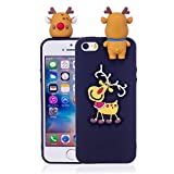 LAXIN Cute Elk for iPhone 5s,Soft 3D Silicone Case,Cute Plant Rubber Cover,Cool Kawaii Cartoon Gel Cases for Girls Kids.Fun Unique Sweet Character Skin Protector Shell for iPhone 5 / 5s / SE