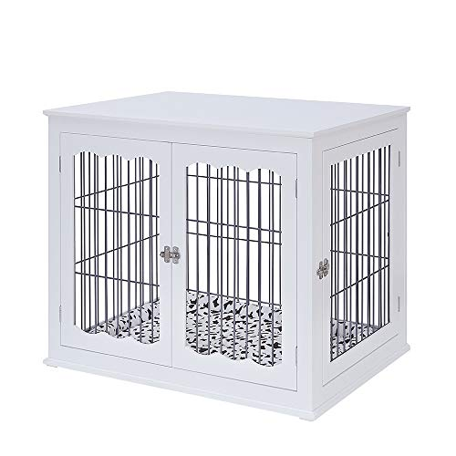 unipaws Pet Crate End Table with Cushion, Wooden Wire Dog Kennels with Double Doors, Modern Design Dog House, Medium and Large Crate Indoor Use, Chew-Proof (Large, White)