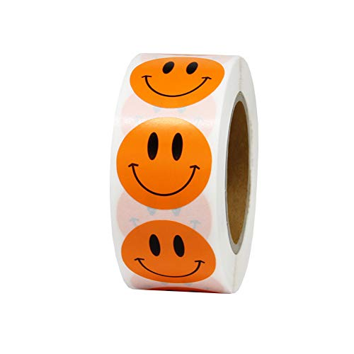 Hcode Smile Face Stickers Roll Happy Face Stickers Circle Dots Paper Labels Reward Stickers Teachers Stickers 500 Pieces per Roll (1 inch Orange)