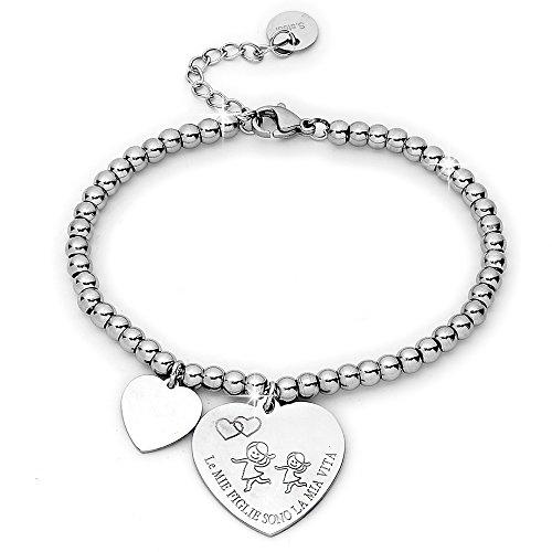 Beloved Bracciale da donna, braccialetto in acciaio emozionale - frasi, pensieri, parole con charms - ciondolo pendente - misura regolabile - incisione - argento - tema famiglia (MF2)