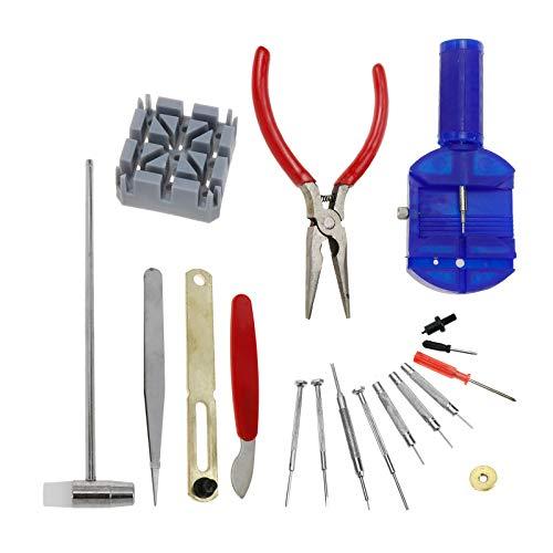 Quluxe Kit de reparación de relojes, juego de herramientas para reparación de relojes, incluye destornilladores, removedor de barra de resorte, pinzas, removedor de eslabones y más.