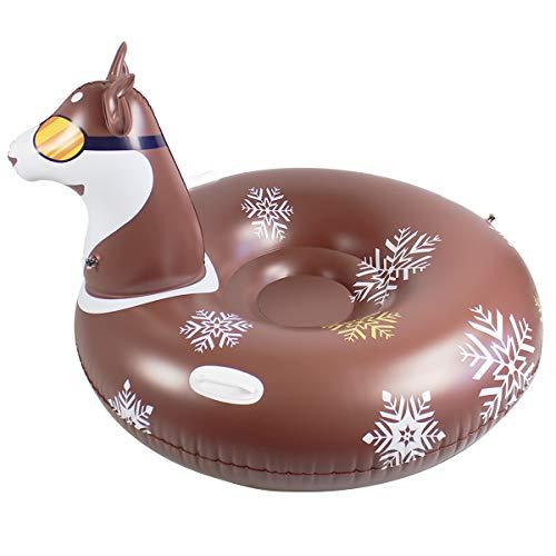 Ponacat Winterschneerohr Aufblasbarer Schlitten-Husky für Kinder Und Erwachsene Zwei Seitengriffe 46X34. 2In Heavy Duty Verdickung PVC Snow Rider