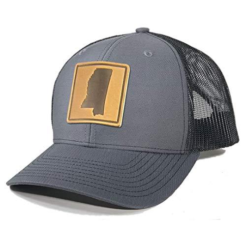Homeland Tees Men's Mississippi Leather Patch Trucker Hat - Charcoal/Black