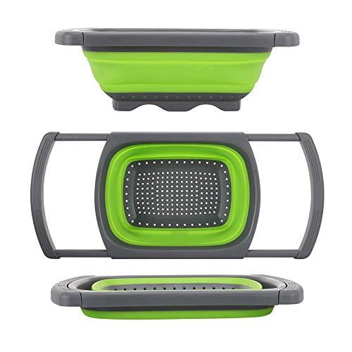 JASIN vierkante afvoermand inklapbaar op de gootvergiet filter groente/fruit intrekbare trechter filter met intrekbare greep