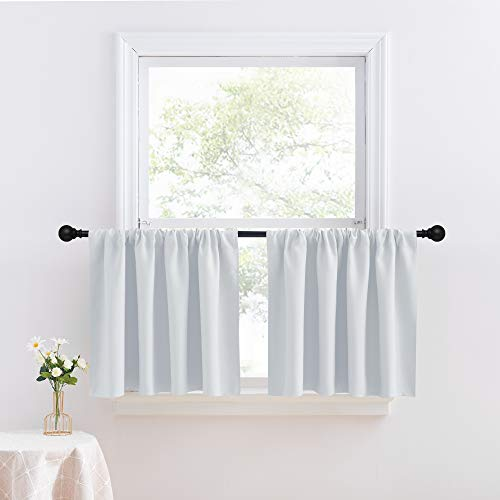 NICETOWN Short Window Treament Blackout Tiers for RV Camper - Home Decoration Rod Pocket Thermal Insulated Drapes for Living Room, 1 Pair, 42W x 24L inches, Greyish White