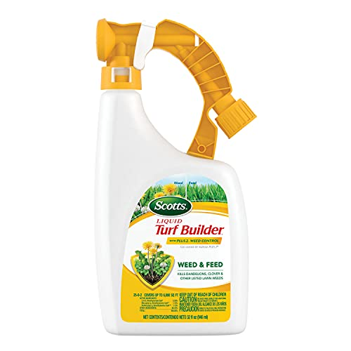 Best liquid lawn fertilizer - Scotts Liquid Turf Builder with Plus 2 Weed Control Fertilizer, 32 fl. oz. - Weed and Feed - Kills Dandelions, Clover and Other Listed Lawn Weeds - Covers up to 6,000 sq. ft.