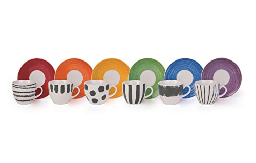 Brunch Time Set Taza De Café con Plato 6 Uds. Style 90 cl Multicolor