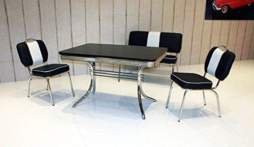 wendland-moebel.de Hausmarke Bank-Sitzgruppe American Diner Paul King6 4tlg in schwarz schwarz
