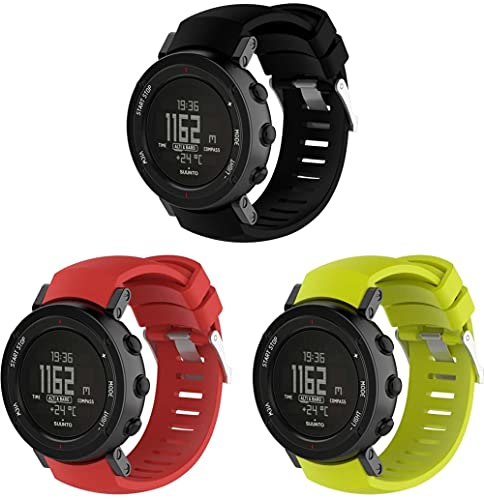 Gransho kompatibel mit Suunto Core ALU Black Armband, Silikon Uhrenarmband Sportarmband (3-Pack I)