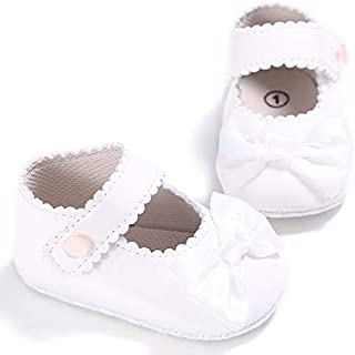Infant Baby Girls Mary Jane Burnish Pu Leather Bowknot Pincess Prewalker Christening Baptism Soft Sole Crib Shoes
