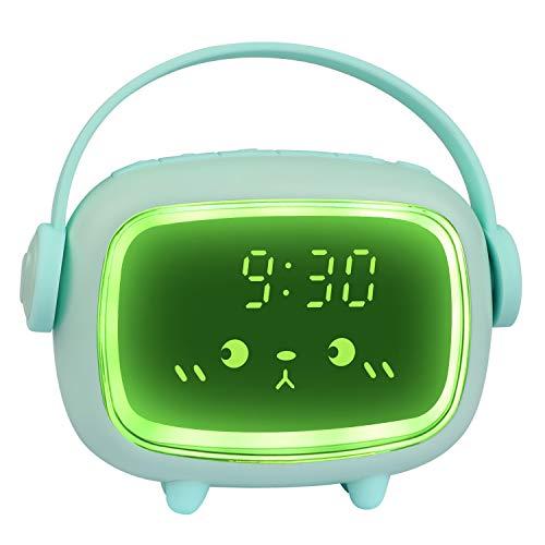 ZKIAH Despertador Digital Infantil, Relojes Despertador con Luz de Noche para Niños y Niñas, Silenciosa Cabecera Lindo Emoji Despertador Infantil (Verde)