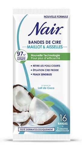 Nair 16 Bandes de Cire Froide Maillot/Aisselles au Lait de Coco Séparation Immédiate sans Frotter Sachet Nomade