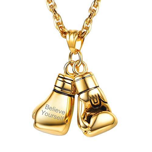 PROSTEEL personalisiert 18k vergoldet Herren Halskette Name Gravur Boxhandschuhe Anhänger mit 55+5cm Kette Boxing Handschuhe Collier Sportlich Modeschmuck Geschenk für Männer Frauen