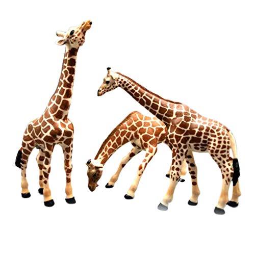 NUOBESTY 3pcs Giraffe Ornaments Family Giraffe Models Tabletop Animal Figurine Family Ornament Dolls Birthday New Year Gift