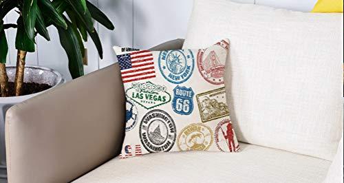 Pillowcase,Cuscini da Letto,Stati Uniti, Grunge francobolli d'America Las Vegas New York San Francisco Hawaii Illustrazione,Cuscini Per Copricuscini Divano Caso Federa Home Decorativi 45x45 Cm
