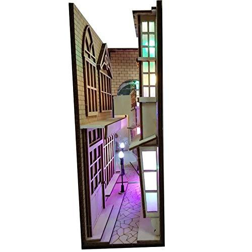 Dasorende DIY KIT Winkelgasse Holzbuch Ecke Kunst BuchstüTzen Abnehmbare Gasse Booknook Handgemachte Buchdekoration LED BüCherregal