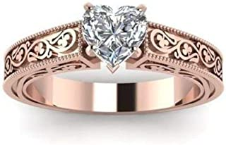 Tripmark 14K Solid Rose Gold White Sapphire Love Heart Floral Ring Wedding Women Jewelry (6)