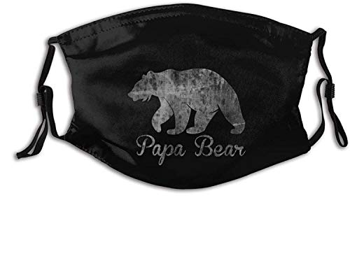 Papa Bear Custom face mask for Unisex,Anti dust face mask with Filter for Travel Black