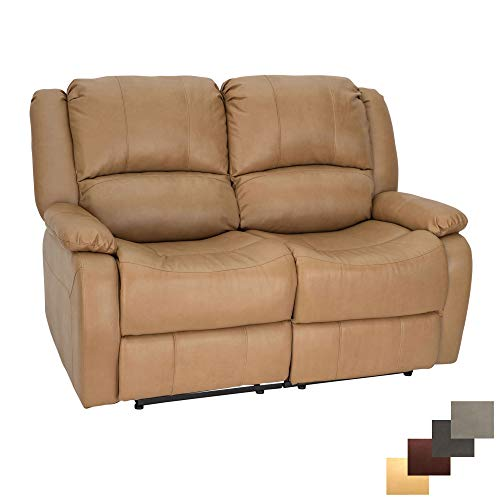RecPro Charles | 58' Double Recliner RV Sofa | RV Zero Wall Loveseat | Wall Hugger Recliner | RV Theater Seating | RV Furniture | RV Sofa | RV Sofa Bed | Toffee