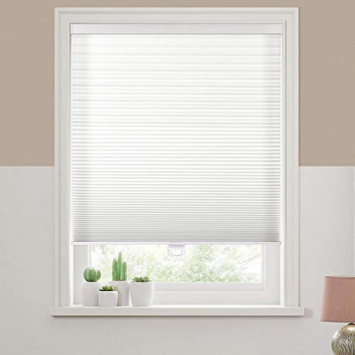 Keego Cordless Cellular Shades, Custom Cut to Size Free-Stop Light Filtering Window Blind, White, 19' W x 64' H, Single Cell Honeycomb Blinds