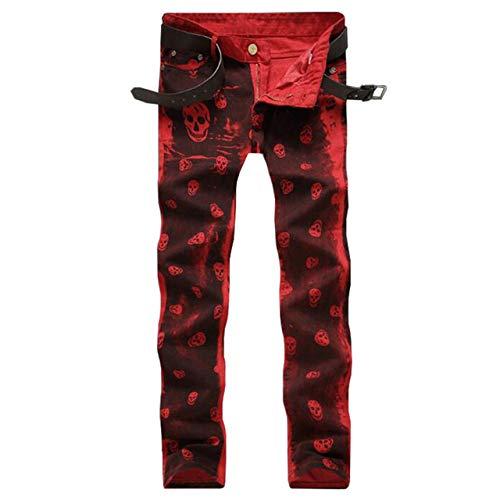 Loeay Hombres Jeans Rojo Blanco Cráneo Patrón Punk Impreso Slim Fit Motocicleta Biker Jeans Skinny Denim Algodón Jean Rojo 40