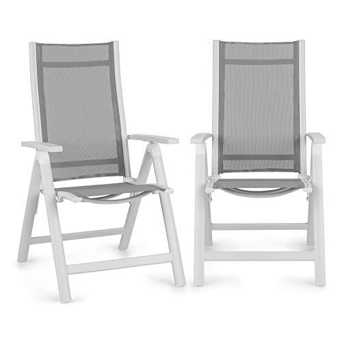 blumfeldt Cádiz Garden Chair - Chaise de Jardin, Cadre en Aluminium, Très légère, Résistante, Pliante, Entretien Facile, Dossier réglable à 7 Positions, Gris/Blanc