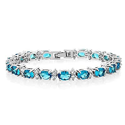 Gem Stone King 20.00 Ct Gorgeous Oval and Round 7 Inch Sparkling Cubic Zirconia CZ Tennis Bracelet