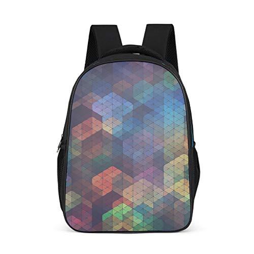 Hinfunees Zaino colorato geometrico astratto design astratto borsa pratica borsa a tracolla per uomo Daypacks scuola, Grigio acceso., Taglia unica