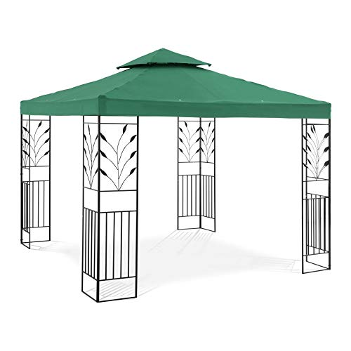 Uniprodo Garden Pavilion Outdoor Gazebo Metal Pergola Gazebo 3x3m 180g/m3 Dark Green UNI_PERGOLA_3X3G (Powder-Coated Iron, Polyester, Total Height 2.60m)