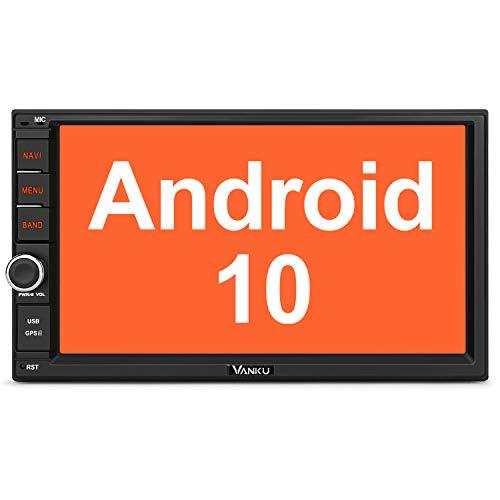 Vanku Android 10 Autoradio Radio mit Navi Unterstützt Bluetooth DAB + DSP WiFi 4G Android Auto USB MicroSD Doppel Din 7 Zoll Bildschirm