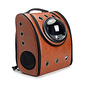 GINYICY Portable Travel Pet Carrier Backpack,Space Capsule Bubble Design,Waterproof Handbag Backpack for Cat and Small Dog,Airline Approved Pet Backpack Carrier (Brown)