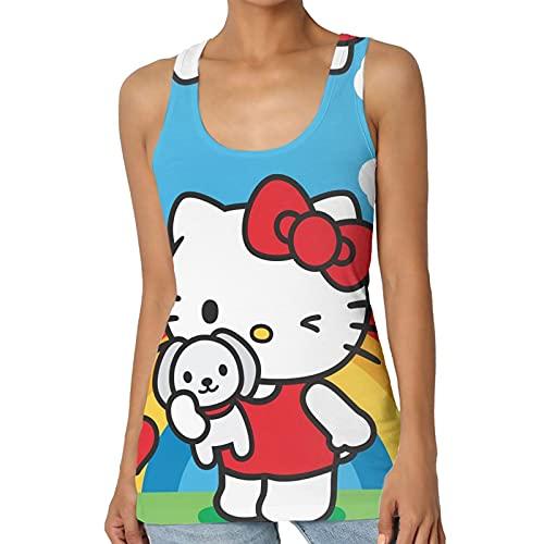 Hello Kitty - Chaleco para mujer, diseño en forma de I, de microfibra con cuello redondo, sin mangas, de punto, informal, para