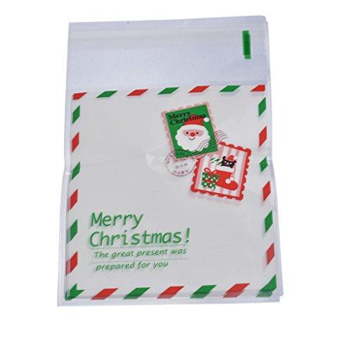 Souarts Sac Sachet Pochette d'emballage pour Cookies Bonbons Biscuit Motif Timbre de Noël 50pcs