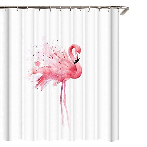 Douchegordijn, badkamergordijn, polyester, waterdicht, anti-schimmel, flamingo, badgordijn, 180 x 180 cm, met 12 ringen