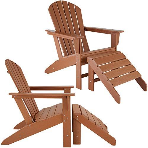 TecTake 2er Set Adirondack Gartenstuhl mit Fußablage, Holzoptik, Gartensessel mit Breiten Armlehnen und Fußhocker, für Garten, Terrasse und Balkon, wetterfest (Braun | Nr. 403807)