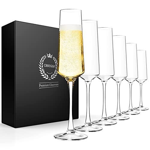 Chouggo Champagne Flutes Set of 6, Hand Blown Crystal Champagne Glasses -...