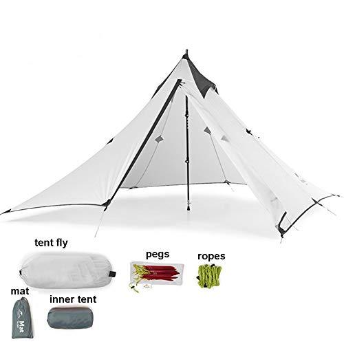 Tentock Outdoor Wasserdicht Campingzelt 3 Jahreszeiten Trekkingzelt Ultraleichtes Pyramide Zelt für Camping Wandern Klettern Backpacking(weiß)