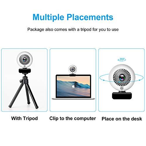 Yuanj 2K Webcam mit Ringbeleuchtung und Mikrofon, Autofokus, Full HD USB Web Kamera für Streaming, Videokonferenz, Videochat und Aufnahme (Stativ Inklusive)