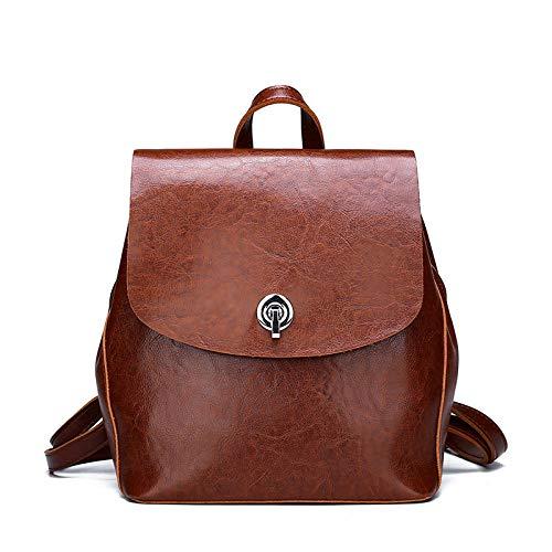 Multifunctional lady leather backpack bag female travel shoulder bag backpack female large-capacity leather handbag-brown_26*23 * 13cm
