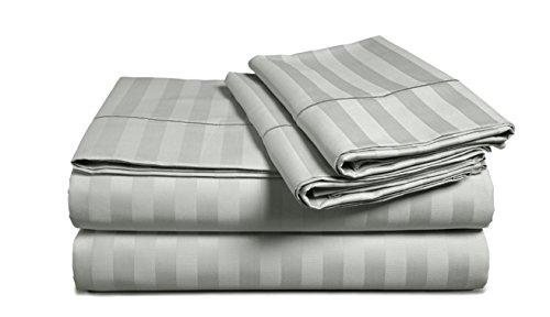 Chateau Home Hotel Collection Luxury - Juego de sábanas de 100% algodón egipcio, 500 hilos, 100 % algodón egipcio muy suave, diseño de rayas de damasco, hueco profundo