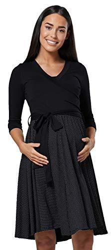 HAPPY MAMA Mujer Vestido Midi Amamantamiento Cuello en V 525 (Negro y Puntos Negros, 44-46, 2XL)