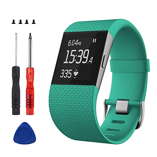 Sophili Replacement Bands for Fitbit Surge Watchwith Metal Buckle Fitness Wristband Strap Small Large(Teal/S)