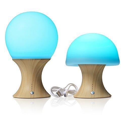 Auraglow LED cambia colore umore luce notturna wireless USB ricaricabile comodino fungo lampada da scrivania