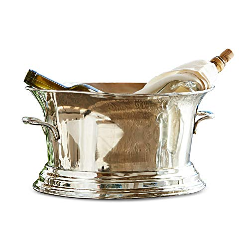 Loberon champagnekoeler Vallorbe, messing, H/Ø ca. 18/36 cm, onderkant: Ø: 27 cm, zilver