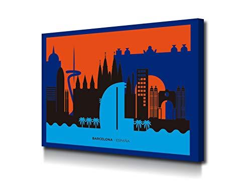 Foto Canvas Cuadro Skyline Barcelona Decoración Pared   Lienzos Grandes De Arte Moderno para El Hogar   Ideal para decoración salón   100 x 75 cm sobre Bastidor de Madera Grueso