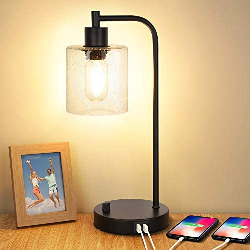 Industrial Table Lamp with 2 USB Ports Fully Stepless Dimmable Vintage Nightstand Desk Lamp product image