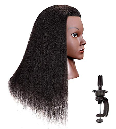 Mannequin Head 16' 100% Real Hair Hairdresser Cosmetology Mannequin Manikin Training Head Hair and Free Clamp Holder